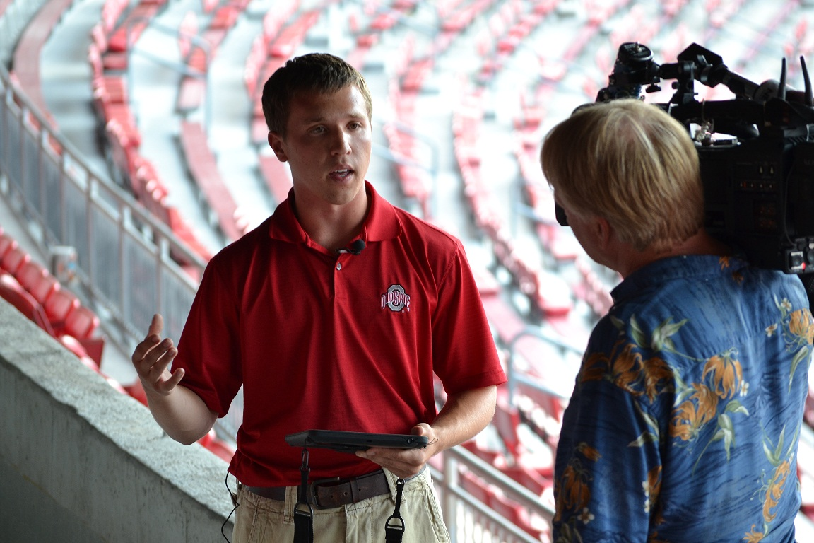 Ryan Barta, during the media blitz surrounding the iPad initiative. Photo courtesy of OSU/Fisher.