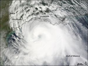 Satellite imagery of Hurricane Ike (courtesy of NOAA).