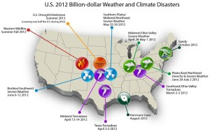 Weather and climate disasters resulted in the second-costliest year for the U.S. in 2012. (Courtesy NOAA)