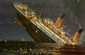 Rendering of the Titanic sinking.