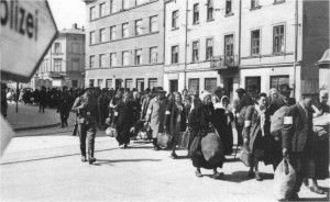 Jews being marched out of the Krakow ghetto in March 1943.