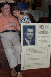 Sue Hamilton hugging Chuck -- she coordinated Chuck's musical tribute.