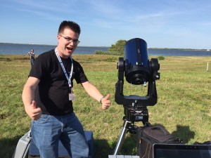 Scott with his telescope equipped with a custom software program he developed for closed-loop tracking of moving objects, including satellites and rockets.